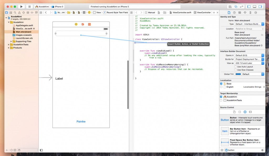 Xcode 6, outlet, action