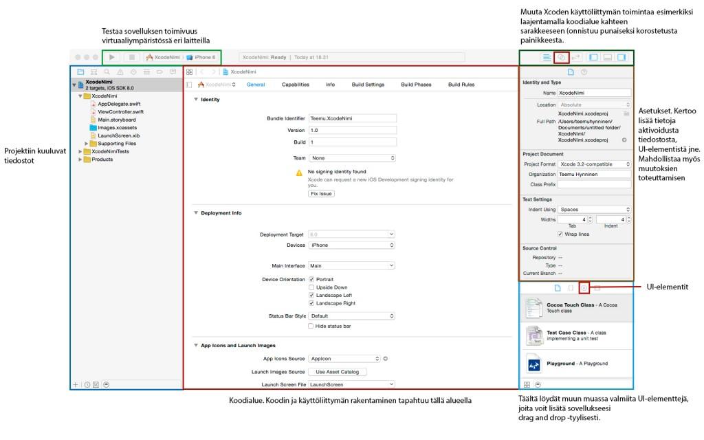 Xcode 6 ,UI, selitykset