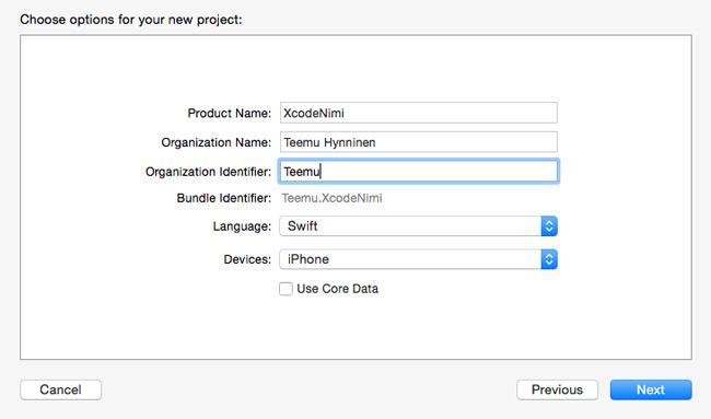 Xcode 6, projektin luominen