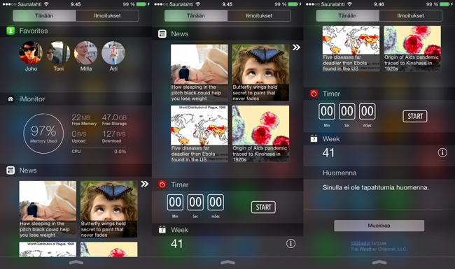 iOS8 widget it Apple