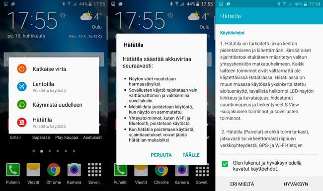 Galaxy S6 Hätätila