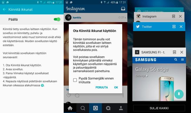 Galaxy S6 edge UI kiinnitä sovellus