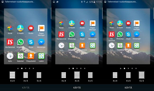 Galaxy S6 kotinäkymä ruudukko