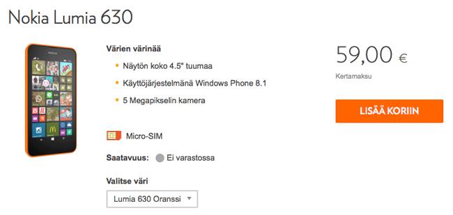 Lumia 630 Windows Phone -puhelin, Elisa, tarjous